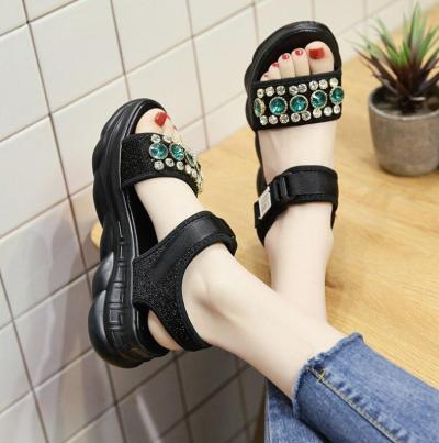 Chunky Sandals Rhinestone Woman Wedges Shoes Fashion Casual Shoes
