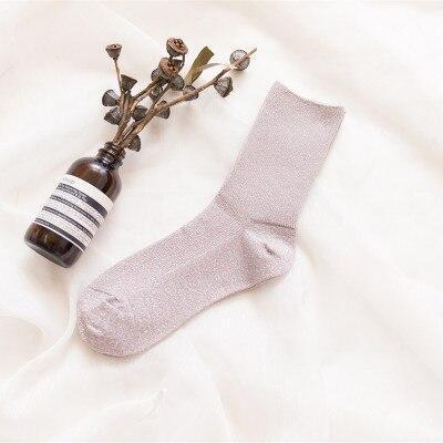 Chic Women's Novelty Glitter Socks Gold Sliver Shiny Ankle Socks Casual Ladies Bright Retro Sox Piles Sock Female