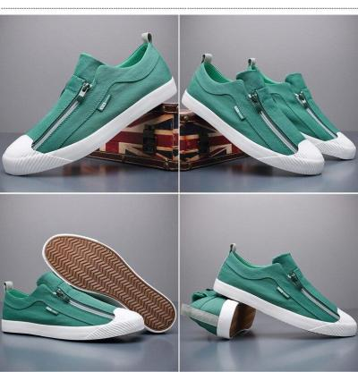 New Two Zipper Canvas Vulcanize Shoes Men Spring Summer Fashion Sneakers Breathable Round Toe Men's Loafer Shoes