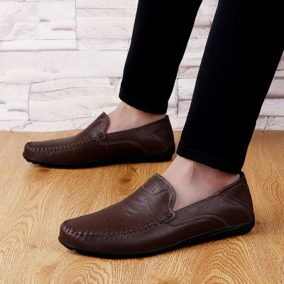 Genuine Leather Mens Shoes Casual Luxury Men Loafers Breathable Slip on Male Boat Shoes