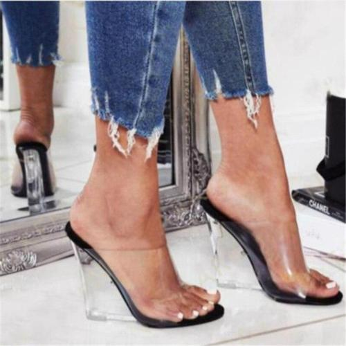 Women Summer Platform 8cm High Heels Wedge Thick Heels Yellow Sandals Chunky Slides Female Slippers Transparent Mules Shoes