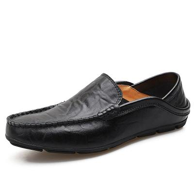 Men's Casual Shoes Genuine Leather Italian Mens Loafers Black Slip on Boat Shoes Men Plus Size