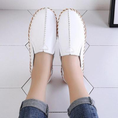 New Solid Color Womens Shoes Flats Autumn PU Leather Casual Women Loafers White Ladies Shoes Footwear