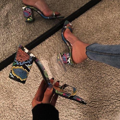 Chunky Heel Thread Flip Flop Slip-On Western Color Block Slippers