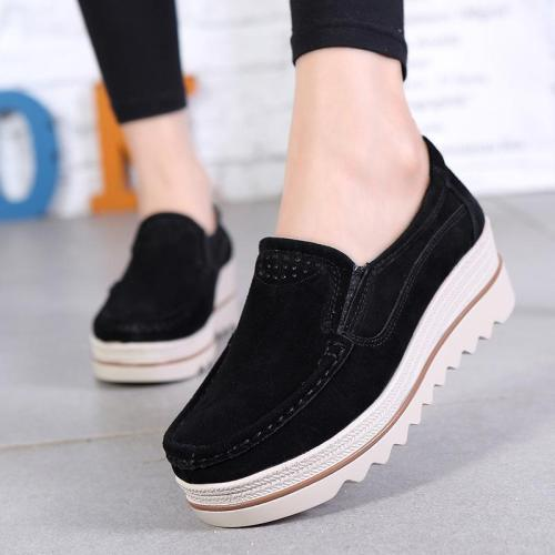Women's Breathable Suede Round Toe Slip On Platform Shoes