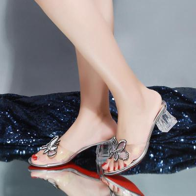 2020 New Summer High Heels Middle Heels Chunky Heels Transparent Fashion Slippers Sandals for Women