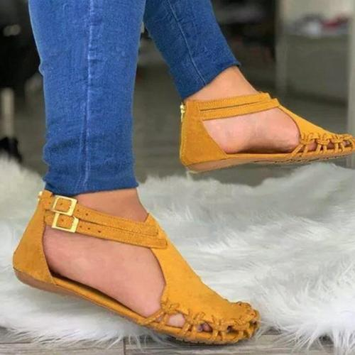 Women Summer Beach Flats Sandals Shoes Woman PU Leather Gladiator Plus Size Closed Toe Sandalias