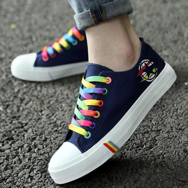 Women Casual Shoes Spring and Summer Ladies Lace-up Canvas Shoes Female Breathable Light Sneakers