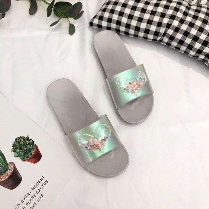 Summer Women Slippers Bling Flat Heel Open Toe Slides Daily Outdoor&Indoor
