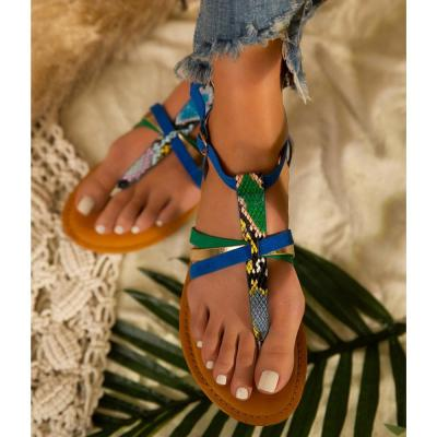 Sandals Snake Print Summer Beach Shoes  Simple Open Toe Hollow Out Soft Sole Casual Sexy Shoes Sandals Flat for Women