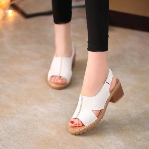 2020 Summer New Women's Sandals Roman Women's Shoes Chunky Heel Middle Heel