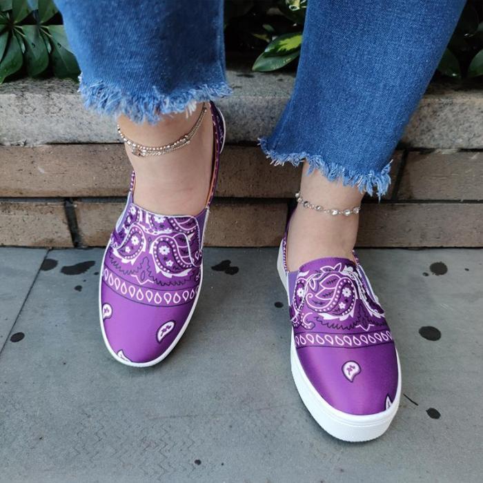 Women Fabric Characteristic Pattern Slip On Platform Bandanna Shoes