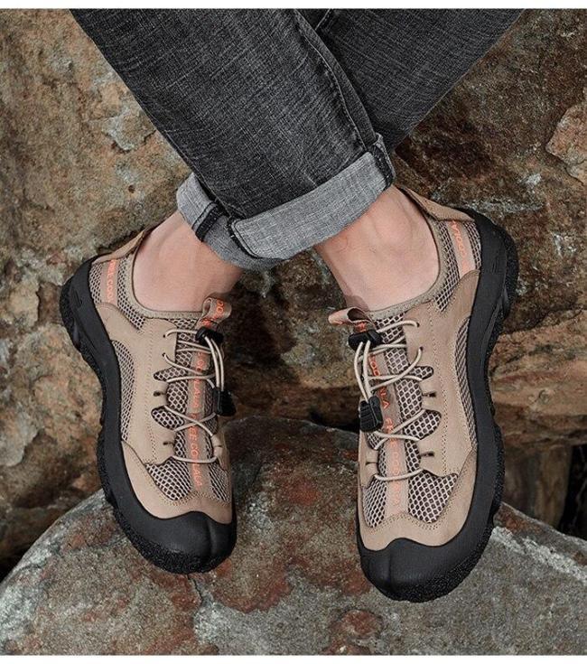 Man Shoe Footwear Khaki Summer Men's Walking Shoes Outdoor Casual Sneakers Breathable Soft