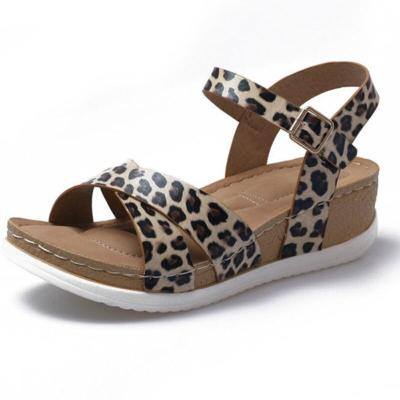Summer Gladiator Women Sandals Leopard Wedges Chunky Heel Platform Buckle Strap Casual