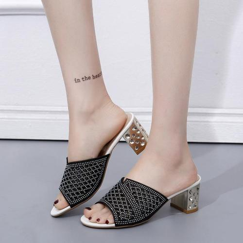 Fashion Hollow Women's Sandals Chunky Heel Sandals Women Slippers