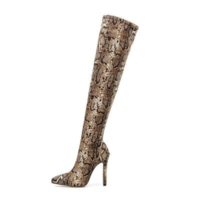 Women Ankle Boots High Heels Short Boots Stiletto Heels Snake Print Winter Shoes