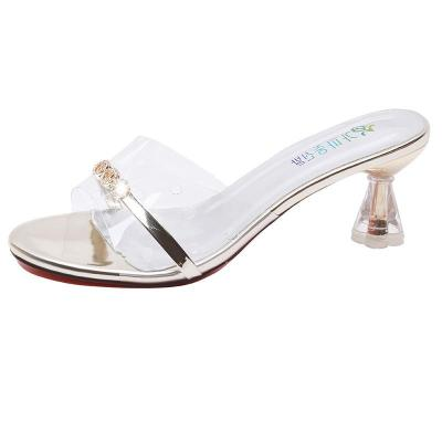Fashion Transparent Women's Sandals Summer Cool Slippers Chunky Heels