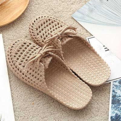 Summer Slippers Shoes Woman closed toe Breathable Flip Flops Lace up Flat Beach Slides Sandals