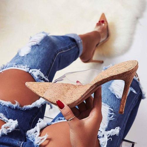 Stiletto Heel Flip Flop See-Through Slip-On Rubber Slippers