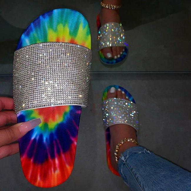 Flat With Flip Flop Rhinestone Slip-On Rubber Casual Slippers