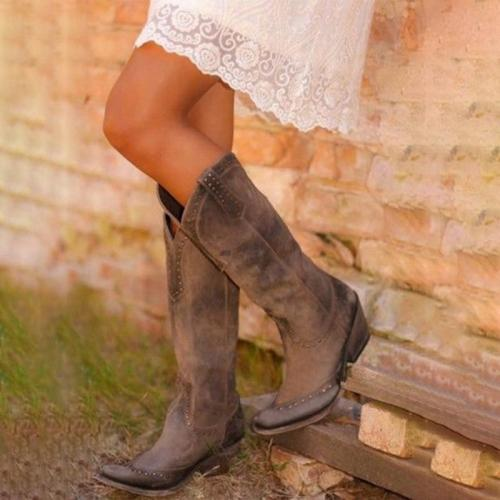 Retro Knee High Boots Leather Long Booties Women High Cowboy Boots