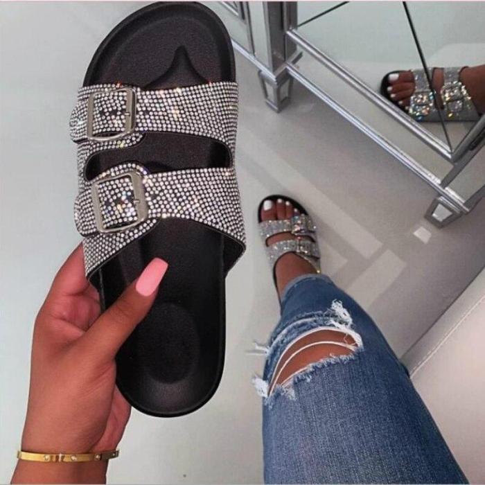 Women Summer Outdoor Slippers Flat Heel Platform Peep Toe Crystal Buckle Slides Fashion