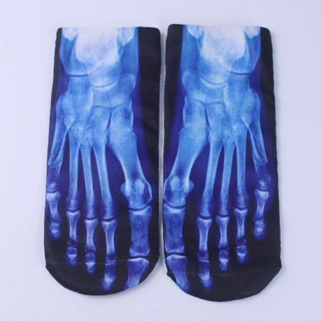 Halloween Cotton Woman Printing Terror Skeleton Toe Socks Hip Hop Scary Skull Five Finger Odd Sox Bone Couple Short Socks