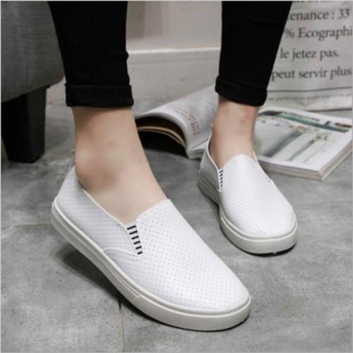 White Women Vulcanized Shoes Summer Slip On Shallow Casual Sneakers Loafers Soft Hollow Out Female Flats Shoes