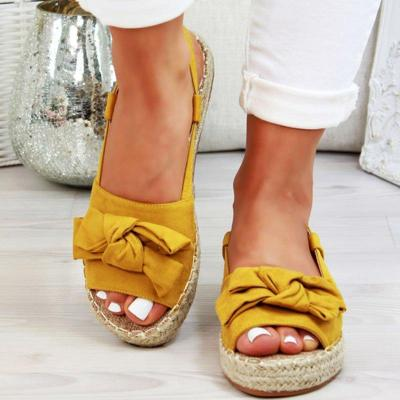 Shoes Flats Shoes Woman Peep Toe Sandalia Feminina Bowknot Shoes Casual Platform Buckle Strap Hemp Flock Sandals