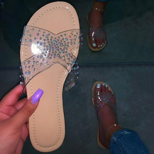 Slip-On Flat With Cross Rhinestone Casual Casual Slippers