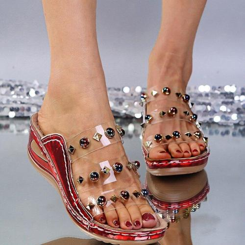Transparent Slippers Ladies Glitter PU Wedges Shoes Female Casual Rivet Sandal Comfortable Platform