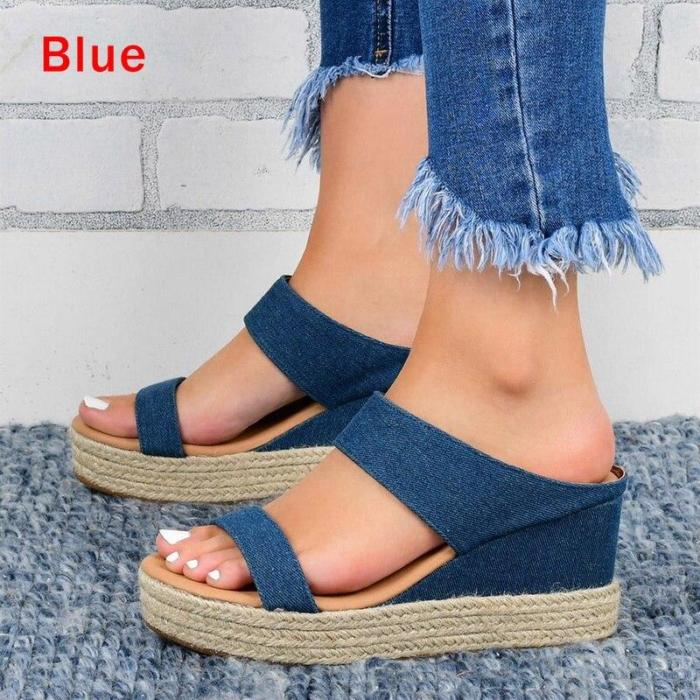 Wedges Sandals Shoes for Women Leather High Heels Slippers Summer