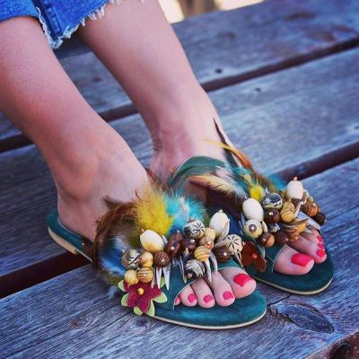 Flip Flop Flat With Slip-On Feather Slippers