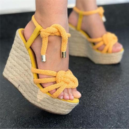 Women Rope Sandals Cotton Fabric Wedges Heels Ankle Strap Hemp Sole Summer Fashion Retro Beach Ladies Shoes Zapatos De Mujer