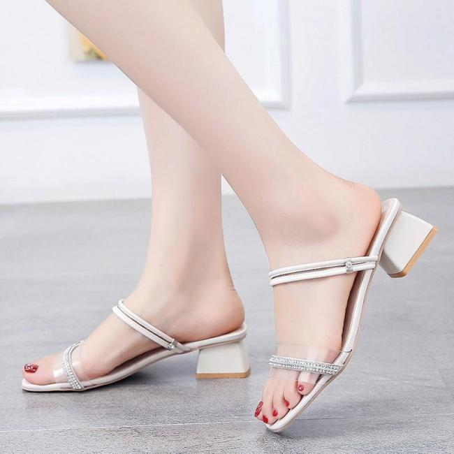 Women's Sandals Summer New Women Chunky Heels Buckle