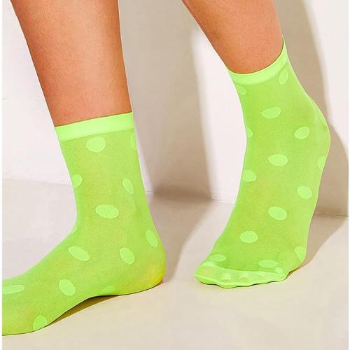 Women Breathable Fluorescent color Polka Dot Socks Ladies Thin Crystal Socks Transparent Thin Dots Silk Socks Female