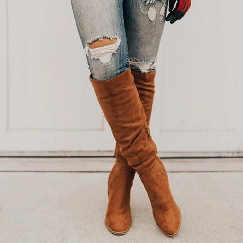 Knee High Boots Winter Women Warm Shoes Zipper High Heel Tall Boots Sewing Thick Heel Ladies Boots