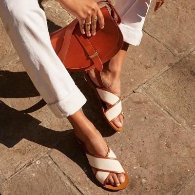 Woman sandals summer open toe roman flats shoes buckle strap cross strappy gladiator beach sandals