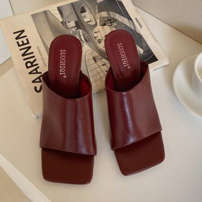 Women Slides High Heels Mules Summer Slip On Open Toe Sandals Low Heels Slippers Sandles Shoes