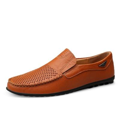 Summer Men Shoes Casual Italian Mens Loafers Genuine Leather Hollow Out Breathable Slip on Driving Shoes