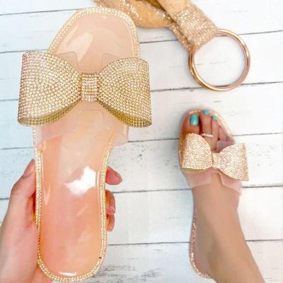 2020 Summer New Woman's Slippers Flat Sandals Open Toe Rhinestones Outdoor Bow Beach Shoes Fashion Plus Size