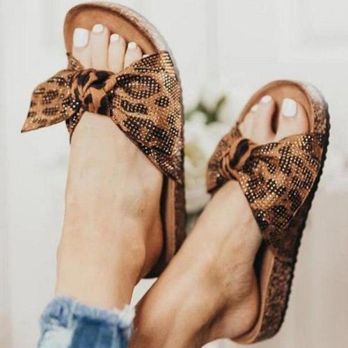 Women Leopard Slippers Bow Slides Platform Summer Slip on Footwear Ladies Fashion Flats Female Casual Beach Shoes