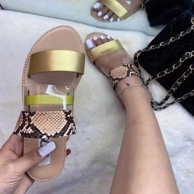 Woman Flat Sandals Mix Color Slip on Transparent Peep Toe Casual Beach Shoes Ladies Female
