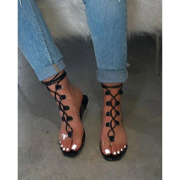 Women Sandals Fashion Sexy Transparent Straps 2020 Summer New Outdoor Beach Flat Women Shoes Plus Size 34-43