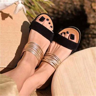 Women Beach Slippers Ladies Summer  Slip on Sandals Designers Belt Ladies Slides Slip-on