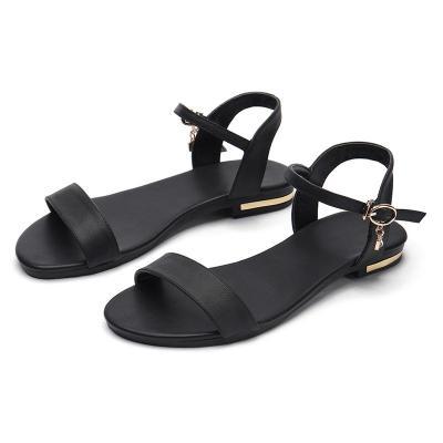 Women Sandals Genuine Leather Flat Woman Low Heels Women's Solid Shoes Ladies Casual Footwear