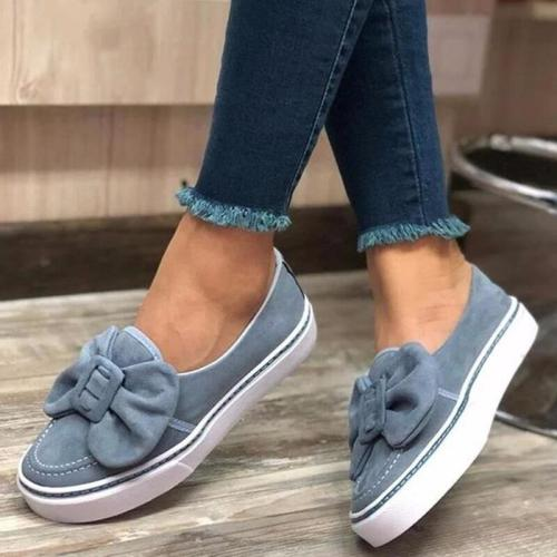 Flats Women Flock Bowknot Loafers Ladies Slip on Walking Shoes Woman Sneakers Plus Size Casual Female New Fashion