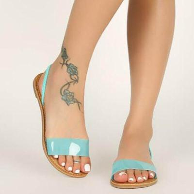 Sandals Platform Flat Heel Transparent Solid Peep Toe Back Strap Casual Simple Beach Ladies Shoes