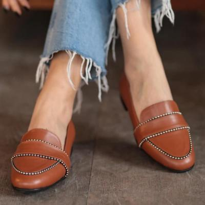 Tan Stapled Leather Loafer Women Dress Shoes Oxford Shoes Formal Work Footwear Black Flats Slip-On Shoes