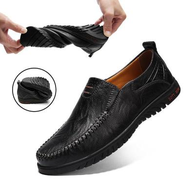 Men Casual Shoes Luxury Brand Genuine Leather Mens Loafers Breathable Slip on Driving Shoes